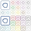 Grab cursor outlined flat color icons - Grab cursor color flat icons in rounded square frames. Thin and thick versions included.