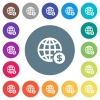 Online Dollar payment flat white icons on round color backgrounds - Online Dollar payment flat white icons on round color backgrounds. 17 background color variations are included.