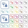 Open banking API outlined flat color icons - Open banking API color flat icons in rounded square frames. Thin and thick versions included.
