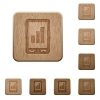 Mobile signal strength wooden buttons - Mobile signal strength on rounded square carved wooden button styles