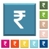 Indian Rupee sign white icons on edged square buttons - Indian Rupee sign white icons on edged square buttons in various trendy colors
