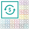 Dollar pay back flat color icons with quadrant frames on white background