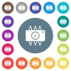 Hardware diagnostics flat white icons on round color backgrounds - Hardware diagnostics flat white icons on round color backgrounds. 17 background color variations are included.