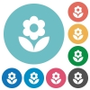 Flower flat white icons on round color backgrounds - Flower flat round icons