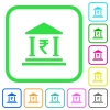 Indian Rupee bank office vivid colored flat icons - Indian Rupee bank office vivid colored flat icons in curved borders on white background