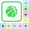 Basketball vivid colored flat icons - Basketball vivid colored flat icons in curved borders on white background