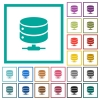 Network database flat color icons with quadrant frames - Network database flat color icons with quadrant frames on white background