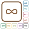 Infinity symbol simple icons in color rounded square frames on white background - Infinity symbol simple icons