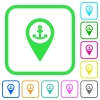 Sea port GPS map location vivid colored flat icons - Sea port GPS map location vivid colored flat icons in curved borders on white background
