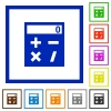 Pocket calculator flat framed icons - Pocket calculator flat color icons in square frames on white background