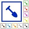 Shovel flat color icons in square frames on white background - Shovel flat framed icons