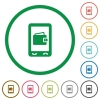 Mobile wallet flat icons with outlines - Mobile wallet flat color icons in round outlines on white background