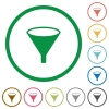 Funnel flat icons with outlines - Funnel flat color icons in round outlines on white background