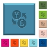 Yen Pound money exchange engraved icons on edged square buttons - Yen Pound money exchange engraved icons on edged square buttons in various trendy colors