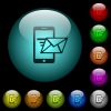 Sending email from mobile phone icons in color illuminated glass buttons - Sending email from mobile phone icons in color illuminated spherical glass buttons on black background. Can be used to black or dark templates