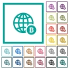 Online Bitcoin payment flat color icons with quadrant frames - Online Bitcoin payment flat color icons with quadrant frames on white background