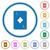 Ace of diamonds card icons with shadows and outlines - Ace of diamonds card flat color vector icons with shadows in round outlines on white background