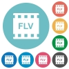 FLV movie format flat round icons - FLV movie format flat white icons on round color backgrounds