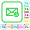 Mail warning vivid colored flat icons in curved borders on white background - Mail warning vivid colored flat icons
