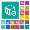 Safe package delivery square flat multi colored icons - Safe package delivery multi colored flat icons on plain square backgrounds. Included white and darker icon variations for hover or active effects.