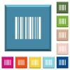 Barcode white icons on edged square buttons in various trendy colors