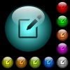 Editbox with pencil icons in color illuminated glass buttons - Editbox with pencil icons in color illuminated spherical glass buttons on black background. Can be used to black or dark templates