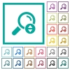 Scrolling search results flat color icons with quadrant frames - Scrolling search results flat color icons with quadrant frames on white background