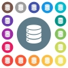 Single database flat white icons on round color backgrounds - Single database flat white icons on round color backgrounds. 17 background color variations are included.