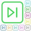 Next movie vivid colored flat icons - Next movie vivid colored flat icons in curved borders on white background