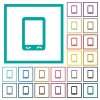 Mobile phone with blank display flat color icons with quadrant frames - Mobile phone with blank display flat color icons with quadrant frames on white background