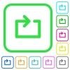 Media loop vivid colored flat icons - Media loop vivid colored flat icons in curved borders on white background