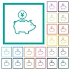 Yen piggy bank flat color icons with quadrant frames - Yen piggy bank flat color icons with quadrant frames on white background