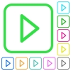 Media play vivid colored flat icons - Media play vivid colored flat icons in curved borders on white background