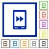 Mobile media fast forward flat framed icons - Mobile media fast forward flat color icons in square frames on white background