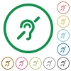 Hearing impaired flat icons with outlines - Hearing impaired flat color icons in round outlines on white background