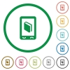 Mobile dictionary flat icons with outlines - Mobile dictionary flat color icons in round outlines on white background