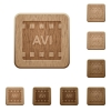 AVI movie format wooden buttons - AVI movie format on rounded square carved wooden button styles