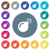 Bomb with sparkling fuse flat white icons on round color backgrounds - Bomb with sparkling fuse flat white icons on round color backgrounds. 17 background color variations are included.
