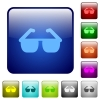 Sunglasses color square buttons - Sunglasses icons in rounded square color glossy button set