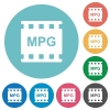 MPG movie format flat round icons - MPG movie format flat white icons on round color backgrounds
