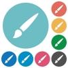 Brush flat round icons - Brush flat white icons on round color backgrounds
