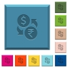 Dollar Rupee money exchange engraved icons on edged square buttons - Dollar Rupee money exchange engraved icons on edged square buttons in various trendy colors
