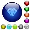 Diamond color glass buttons - Diamond icons on round color glass buttons