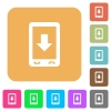 Mobile scroll down flat icons on rounded square vivid color backgrounds. - Mobile scroll down rounded square flat icons