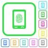 Mobile fingerprint identification vivid colored flat icons - Mobile fingerprint identification vivid colored flat icons in curved borders on white background