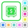 Dollar strong box vivid colored flat icons - Dollar strong box vivid colored flat icons in curved borders on white background