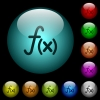 Function icons in color illuminated glass buttons - Function icons in color illuminated spherical glass buttons on black background. Can be used to black or dark templates