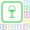 Glass of wine vivid colored flat icons - Glass of wine vivid colored flat icons in curved borders on white background
