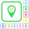 GPS map location details vivid colored flat icons - GPS map location details vivid colored flat icons in curved borders on white background