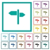 Signpost flat color icons with quadrant frames - Signpost flat color icons with quadrant frames on white background